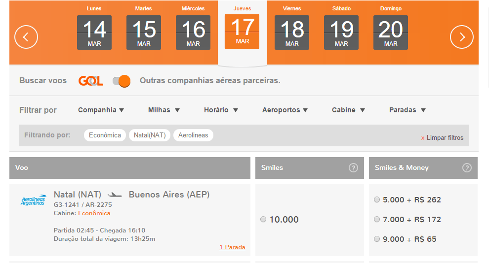 Smiles vuelos Aerolíneas Argentinas Natal, Brasil 10.000 millas