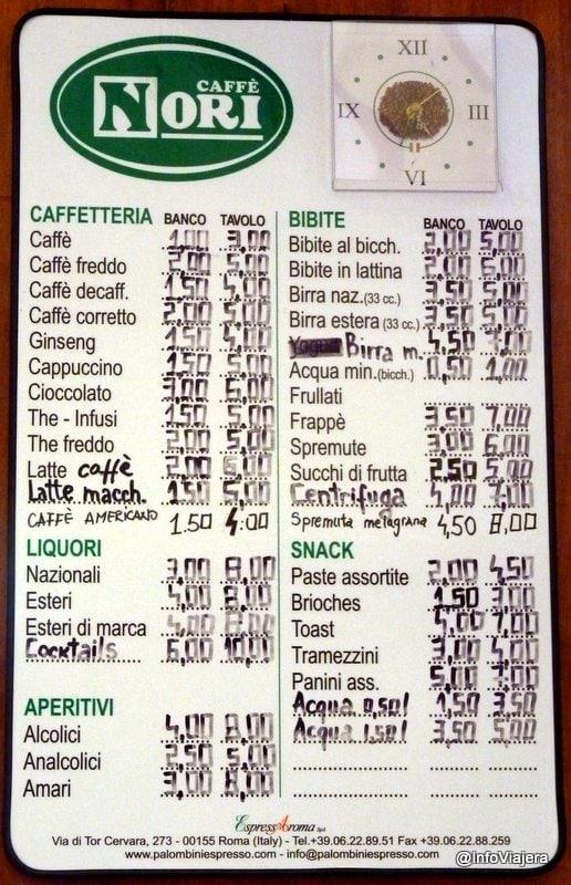 Roma_Cafe_Precios